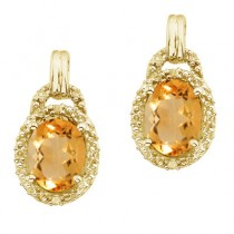 Oval Citrine and Diamond Earrings 14k Yellow Gold (8x6mm)