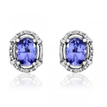 Diamond & Oval Tanzanite Stud Fashion Earrings 14k White Gold (1.62ct)