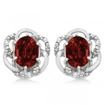 Oval Shaped Red Garnet & Diamond Earrings in 14K White Gold (3.05ct)