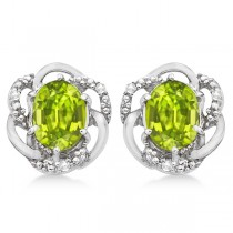 Oval Green Peridot & Diamond Stud Earrings in 14K White Gold (3.05ct)