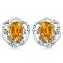 Oval Shaped Citrine & Diamond Stud Earrings in 14K White Gold (3.05ct)