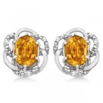 Oval Shaped Citrine & Diamond Stud Earrings in 14K White Gold (3.05ct)