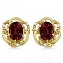 Oval Shaped Red Garnet & Diamond Earrings in 14K Yellow Gold (3.05ct)