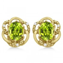 Oval Green Peridot & Diamond Stud Earrings in 14K Yellow Gold (3.05ct)