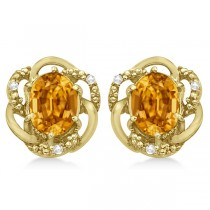 Oval Citrine & Diamond Stud Earrings in 14K Yellow Gold (3.05ct)