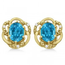 Oval Shaped Blue Topaz & Diamond Earrings in 14K Yellow Gold (3.05ct)