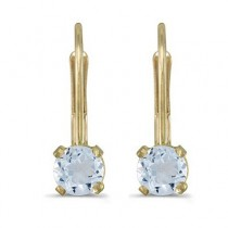 Aquamarine Lever-Back Drop Earrings 14k Yellow Gold (0.46ctw)