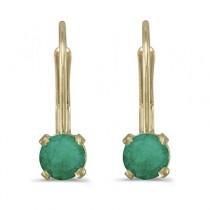 Emerald Lever-Back Drop Earrings 14k Yellow Gold (0.50ctw)