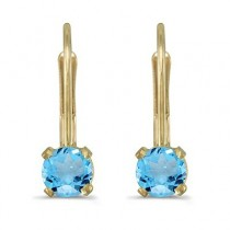 Blue Topaz Lever-Back Drop Earrings 14k Yellow Gold (0.60ctw)|escape