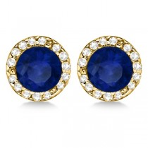 Diamond and Blue Sapphire Earrings Halo 14K Yellow Gold (1.15tcw)