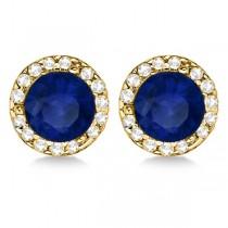 Diamond and Blue Sapphire Earrings Halo 14K Yellow Gold (1.15tcw)