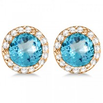 Diamond and Blue Topaz Earrings Halo 14K Rose Gold (1.15ct)