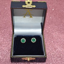 Diamond and Emerald Earrings Halo 14K Rose Gold (1.15ct)|escape