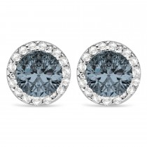 Diamond and Gray Spinel Earrings Halo 14K White Gold (1.15tcw)