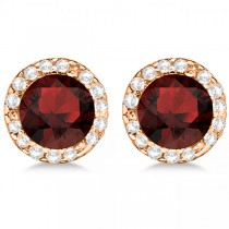 Diamond and Garnet Earrings Halo 14K Rose Gold (1.15ct)