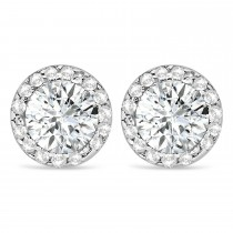 Diamond and Moissanite Earrings Halo 14K Rose Gold (0.82ct)