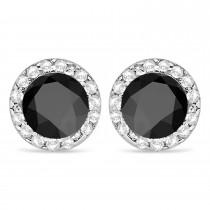 Diamond and Black Onyx Earrings Halo 14K White Gold (1.15tcw)