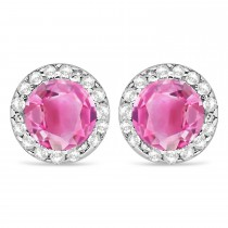 Diamond and Pink Tourmaline Earrings Halo 14K White Gold (1.15tcw)