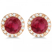 Diamond and Ruby Earrings Halo 14K Rose Gold (1.15ct)