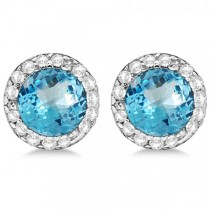Diamond and Blue Topaz Earrings Halo 14K White Gold (1.15ct)