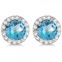 Diamond and Blue Topaz Earrings Halo 14K White Gold (1.15ct)