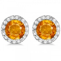 Diamond and Citrine Earrings Halo 14K White Gold (1.15ct)
