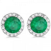Diamond and Emerald Earrings Halo 14K White Gold (1.15ct)