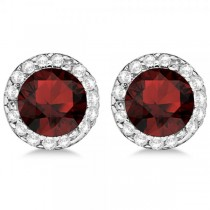 Diamond and Garnet Earrings Halo 14K White Gold (1.15ct)