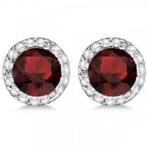 Diamond and Garnet Earrings Halo 14K White Gold (1.15ct)