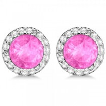 Diamond and Pink Sapphire Earrings Halo 14K White Gold (1.15ct)