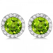 Diamond and Peridot Earrings Halo 14K White Gold (1.15ct)