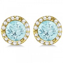 Diamond and Aquamarine Earrings Halo 14K Yellow Gold (1.15ct)