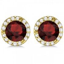 Diamond and Garnet Earrings Halo 14K Yellow Gold (1.15ct)