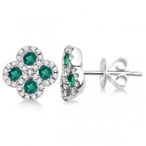 Emerald & Diamond Clover Earrings in 14K White Gold (0.90ct)