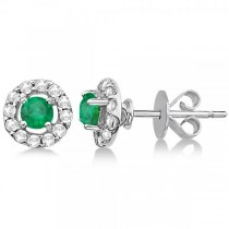 Floating Emerald and Diamond Stud Earrings 14K White Gold (0.96ct)