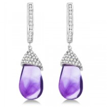 Diamond and Amethyst Drop Earrings Pear Shape 14K White Gold (6.08tcw)