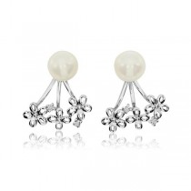 Diamond Accented Pearl Daisy Cuff Earrings 14k White Gold 6mm (0.03ct)