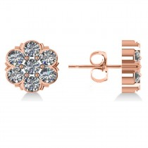Diamond Flower Cluster Stud Earrings 14k Rose Gold (2.10ct)