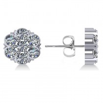 Diamond Flower Cluster Stud Earrings 14k White Gold (2.10ct)