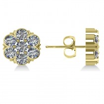 Diamond Flower Cluster Stud Earrings 14k Yellow Gold (2.10ct)
