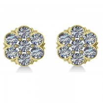 Diamond Flower Cluster Stud Earrings 14k Yellow Gold (2.10ct)