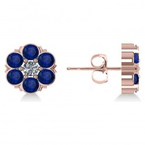 Blue Sapphire & Diamond Cluster Stud Earrings 14k Rose Gold (2.10ct)