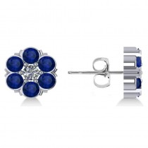 Blue Sapphire & Diamond Cluster Stud Earrings 14k White Gold (2.10ct)