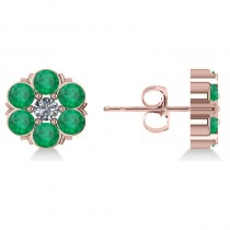 Emerald & Diamond Cluster Stud Earrings 14k Rose Gold (2.10ct)