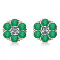 Emerald & Diamond Cluster Stud Earrings 14k Rose Gold (2.10ct)