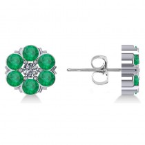 Emerald & Diamond Cluster Stud Earrings 14k White Gold (2.10ct)