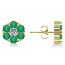 Emerald & Diamond Cluster Stud Earrings 14k Yellow Gold (2.10ct)