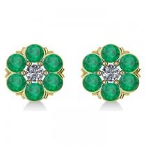 Emerald & Diamond Cluster Stud Earrings 14k Yellow Gold (2.10ct)