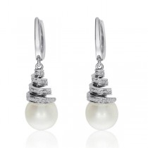 Diamond Accented Pearl Swirl Drop Earrings 14k White Gold 8mm (0.22ct)