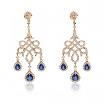 Blue Sapphire & Diamond Chandelier Earrings 14k Rose Gold (2.66ct)